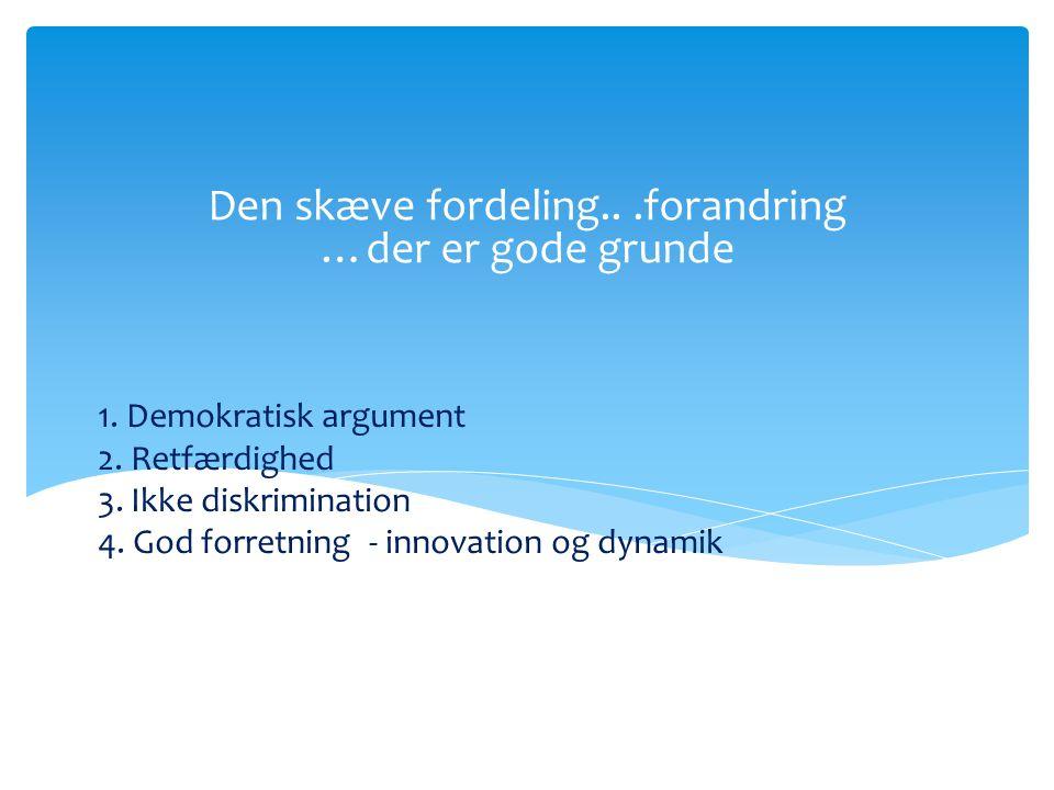 1. Demokratisk argument 2. Retfærdighed 3. Ikke diskrimination 4.