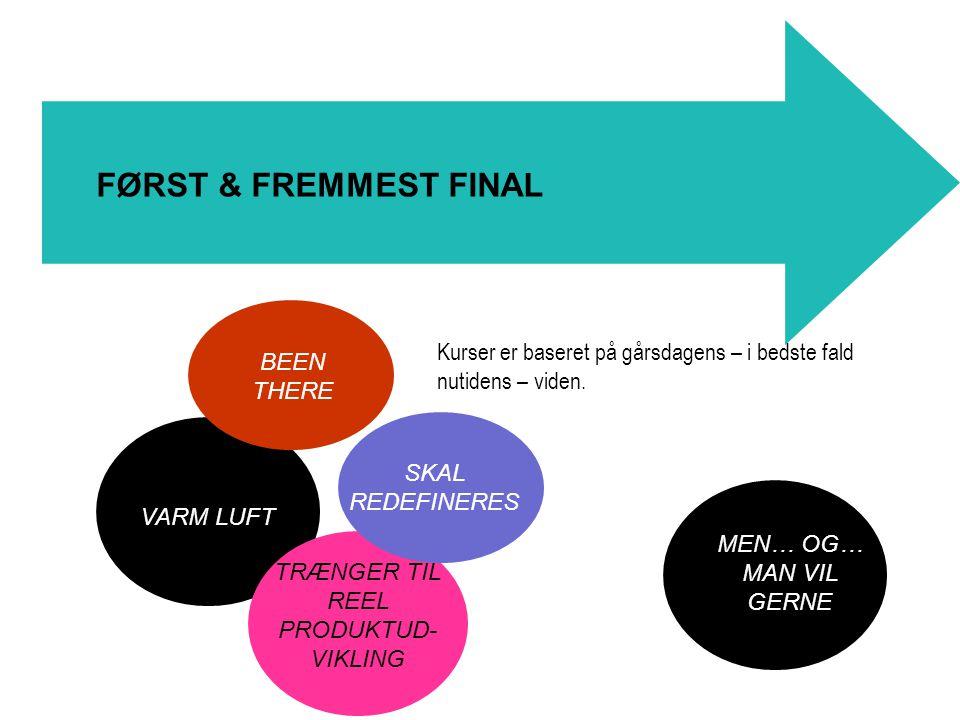 BEEN THERE VARM LUFT FØRST & FREMMEST FINAL Kurser er baseret på gårsdagens – i bedste fald nutidens – viden.