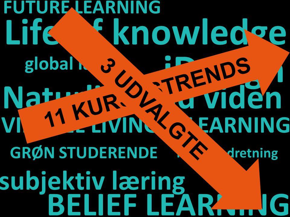 FUTURE LEARNING iDesign Life of knowledge kursusindretning Naturlig sund viden VIRTUEL LIVING & LEARNING GRØN STUDERENDE subjektiv læring BELIEF LEARNING global læring 11 KURSUSTRENDS 3 UDVALGTE