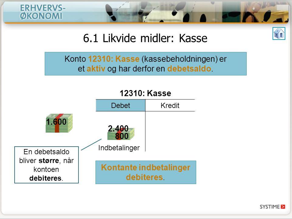 6.1 Likvide midler: Kasse Konto 12310: Kasse (kassebeholdningen) er et aktiv og har derfor en debetsaldo.