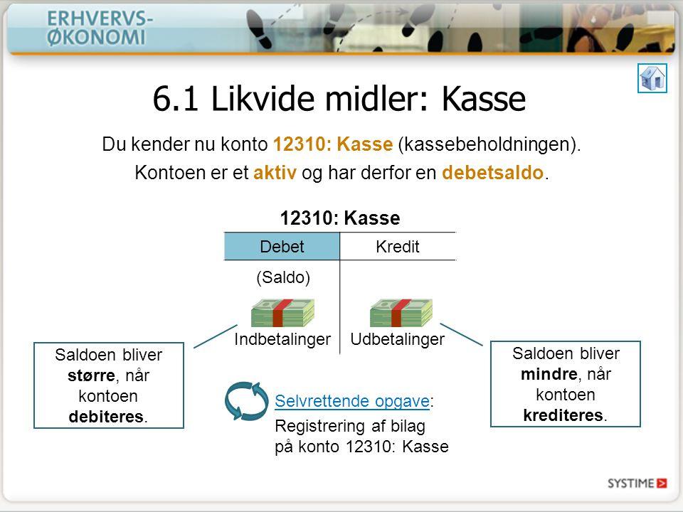 6.1 Likvide midler: Kasse Du kender nu konto 12310: Kasse (kassebeholdningen).