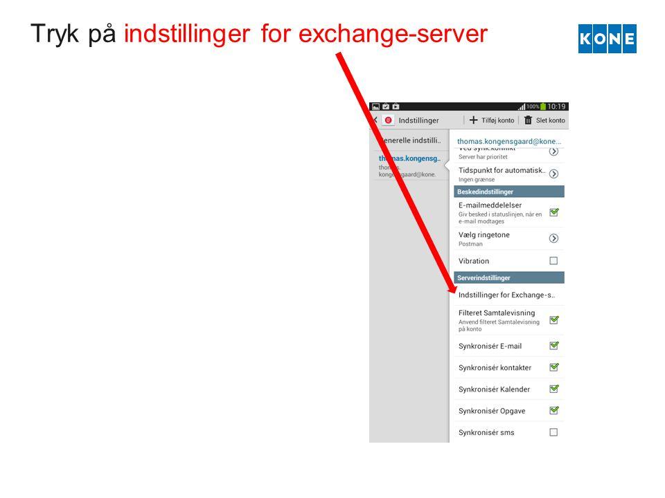 Tryk på indstillinger for exchange-server