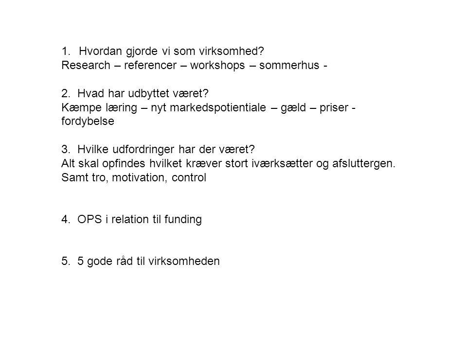 1.Hvordan gjorde vi som virksomhed. Research – referencer – workshops – sommerhus - 2.