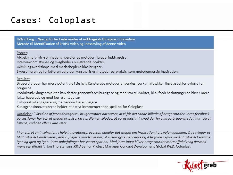 Cases: Coloplast Udfordring : Nye og forbedrede måder at inddrage slutbrugere i innovation Metode til identifikation af kritisk viden og indsamling af denne viden Proces: Afdækning af virksomhedens værdier og metoder i brugerinddragelse.