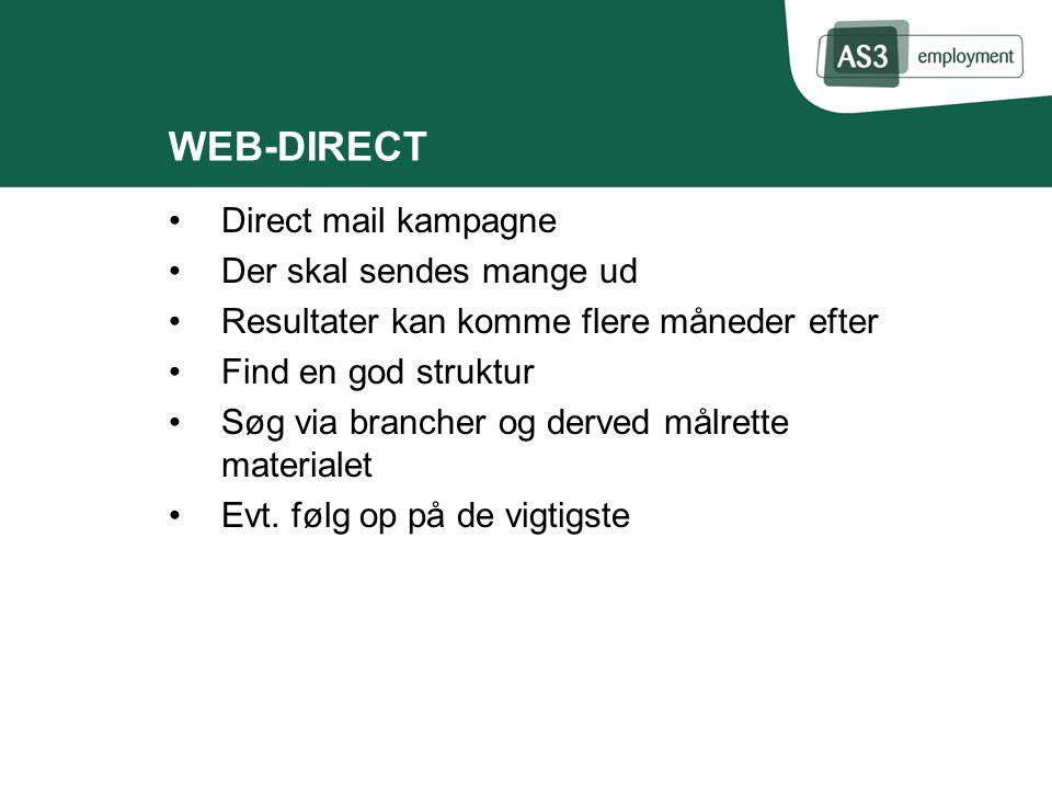 WEB-DIRECT Direct mail kampagne Der skal sendes mange ud Resultater kan komme flere måneder efter Find en god struktur Søg via brancher og derved målrette materialet Evt.