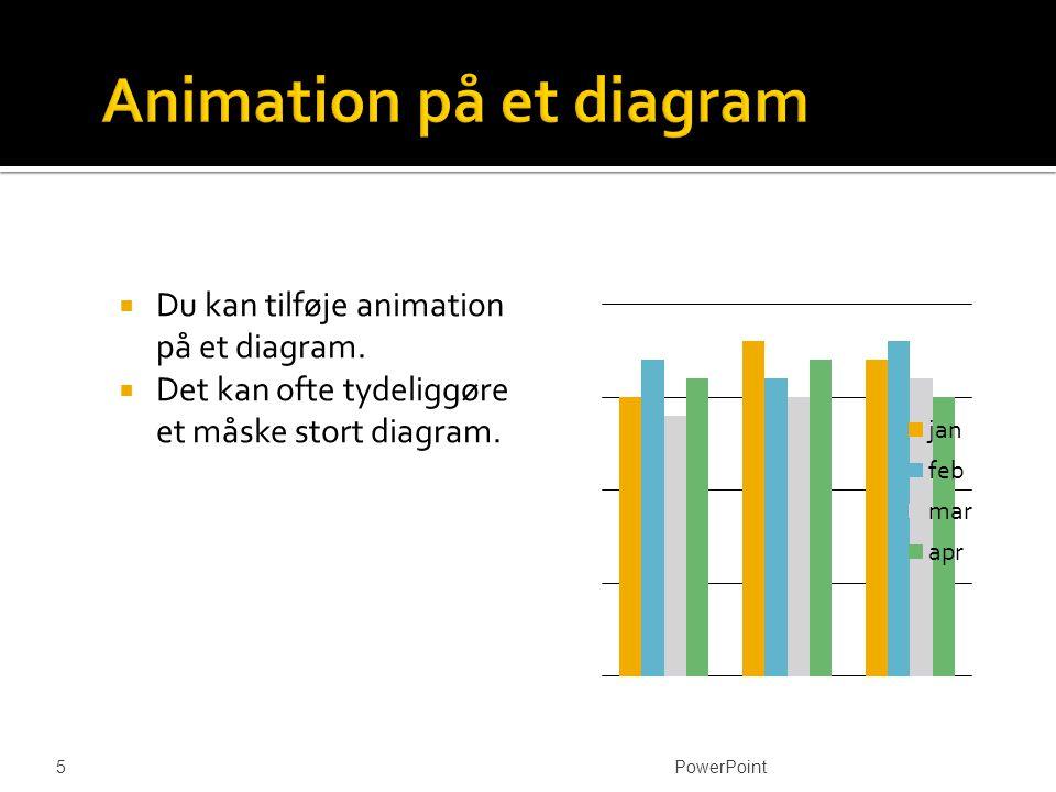  Du kan tilføje animation på et diagram.  Det kan ofte tydeliggøre et måske stort diagram.