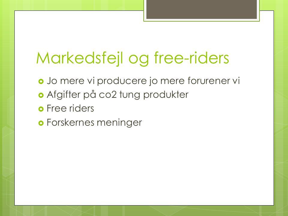 Markedsfejl og free-riders  Jo mere vi producere jo mere forurener vi  Afgifter på co2 tung produkter  Free riders  Forskernes meninger