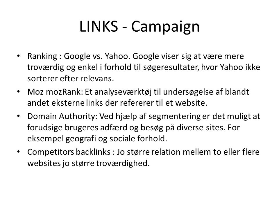 LINKS - Campaign Ranking : Google vs. Yahoo.