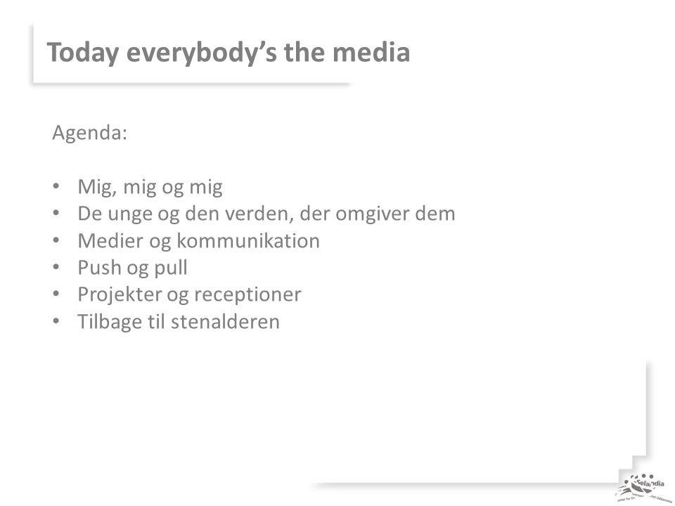 Today everybody's the media Agenda: Mig, mig og mig De unge og den verden, der omgiver dem Medier og kommunikation Push og pull Projekter og receptioner Tilbage til stenalderen