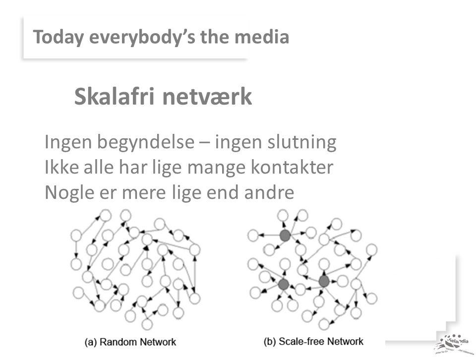 Today everybody's the media Ingen begyndelse – ingen slutning Ikke alle har lige mange kontakter Nogle er mere lige end andre Skalafri netværk