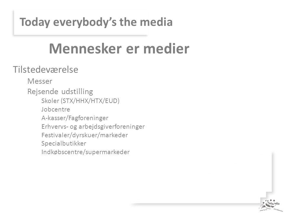 Today everybody's the media Tilstedeværelse Messer Rejsende udstilling Skoler (STX/HHX/HTX/EUD) Jobcentre A-kasser/Fagforeninger Erhvervs- og arbejdsgiverforeninger Festivaler/dyrskuer/markeder Specialbutikker Indkøbscentre/supermarkeder Mennesker er medier