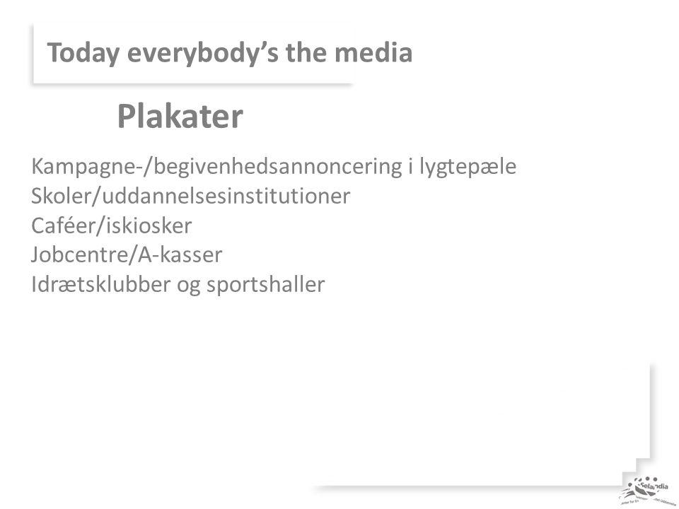 Today everybody's the media Kampagne-/begivenhedsannoncering i lygtepæle Skoler/uddannelsesinstitutioner Caféer/iskiosker Jobcentre/A-kasser Idrætsklubber og sportshaller Plakater