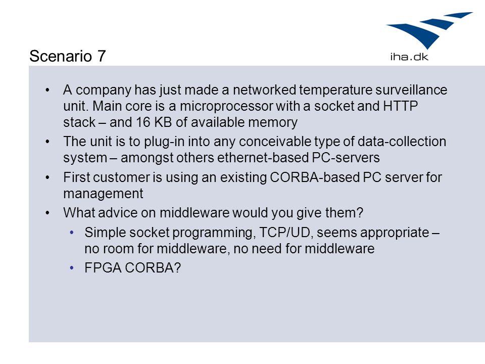 Scenario 7 A company has just made a networked temperature surveillance unit.