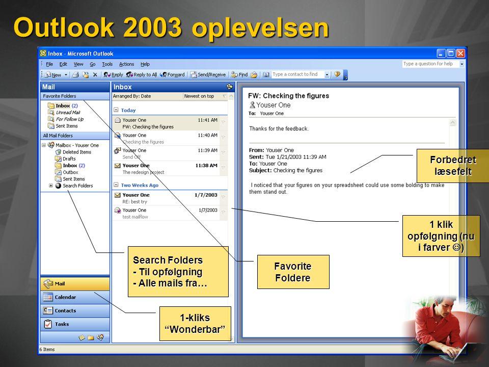 Outlook 2003 oplevelsen Search Folders - Til opfølgning - Alle mails fra… Forbedret læsefelt 1 klik opfølgning (nu i farver ) Favorite Foldere 1-kliks Wonderbar