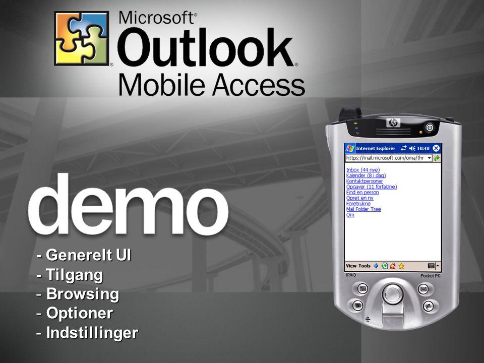 - Generelt UI - Tilgang - Browsing - Optioner - Indstillinger