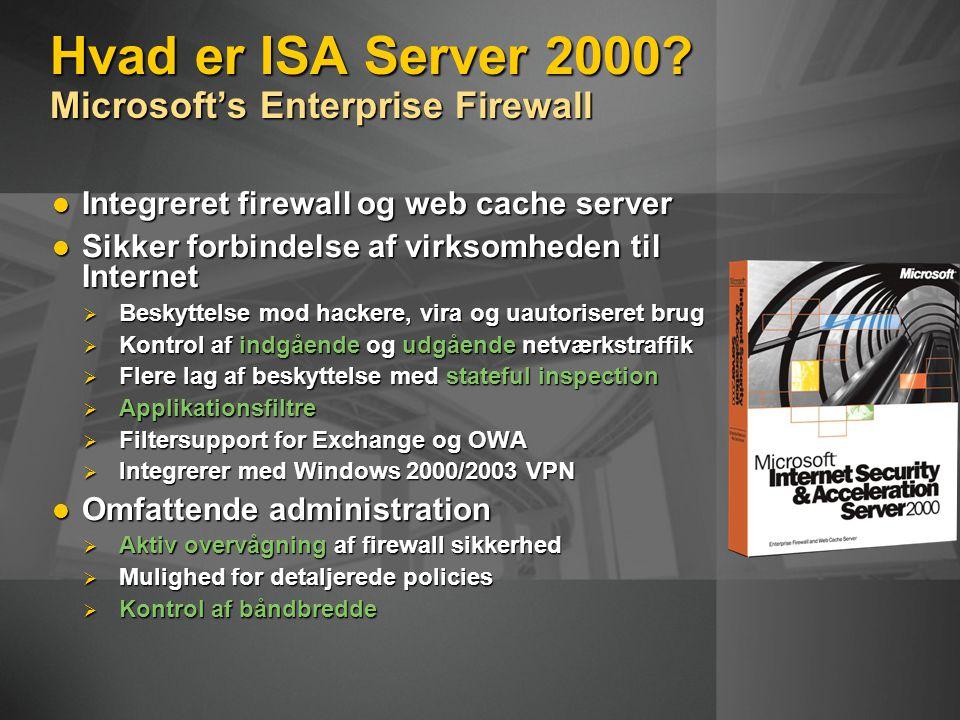 Integreret firewall og web cache server Integreret firewall og web cache server Sikker forbindelse af virksomheden til Internet Sikker forbindelse af virksomheden til Internet  Beskyttelse mod hackere, vira og uautoriseret brug  Kontrol af indgående og udgående netværkstraffik  Flere lag af beskyttelse med stateful inspection  Applikationsfiltre  Filtersupport for Exchange og OWA  Integrerer med Windows 2000/2003 VPN Omfattende administration Omfattende administration  Aktiv overvågning af firewall sikkerhed  Mulighed for detaljerede policies  Kontrol af båndbredde Hvad er ISA Server 2000.