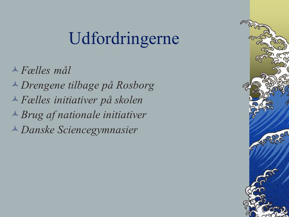 Udfordringerne Fælles mål Drengene tilbage på Rosborg Fælles initiativer på skolen Brug af nationale initiativer Danske Sciencegymnasier