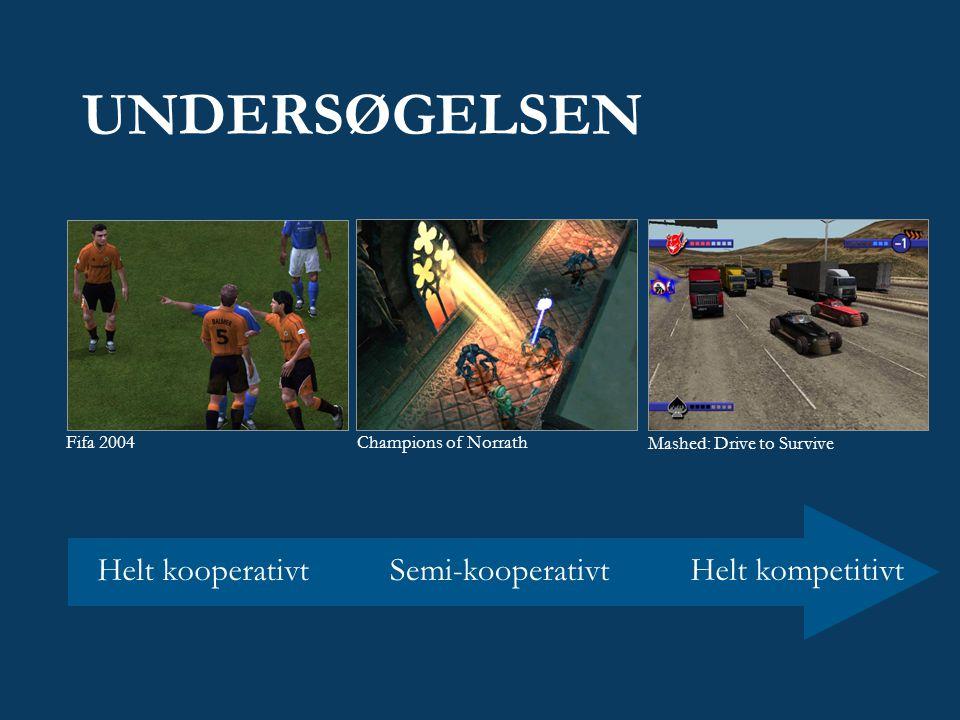 UNDERSØGELSEN Mashed: Drive to Survive Champions of Norrath Fifa 2004 Helt kompetitivt Semi-kooperativtHelt kooperativt