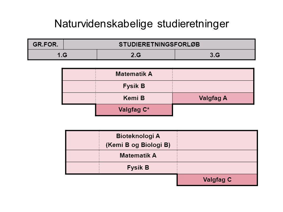 Naturvidenskabelige studieretninger GR.FOR.STUDIERETNINGSFORLØB 1.G2.G3.G Matematik A Fysik B Kemi BValgfag A Valgfag C* Bioteknologi A (Kemi B og Biologi B) Matematik A Fysik B Valgfag C