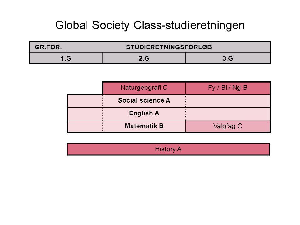 Global Society Class-studieretningen GR.FOR.STUDIERETNINGSFORLØB 1.G2.G3.G Naturgeografi CFy / Bi / Ng B Social science A English A Matematik BValgfag C History A