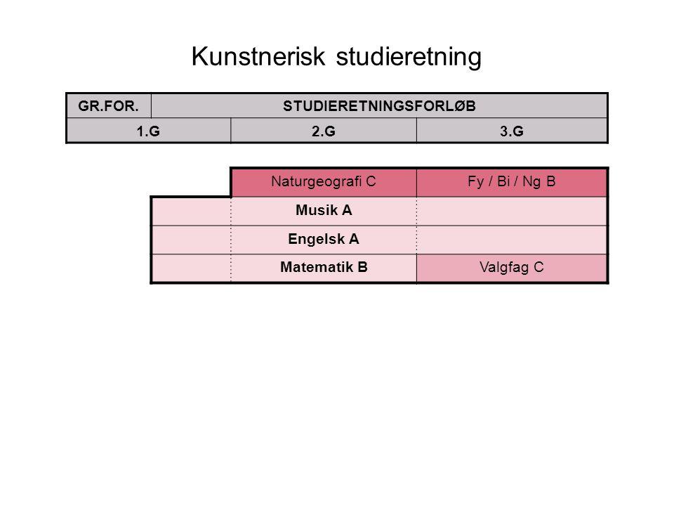 Kunstnerisk studieretning GR.FOR.STUDIERETNINGSFORLØB 1.G2.G3.G Naturgeografi CFy / Bi / Ng B Musik A Engelsk A Matematik BValgfag C