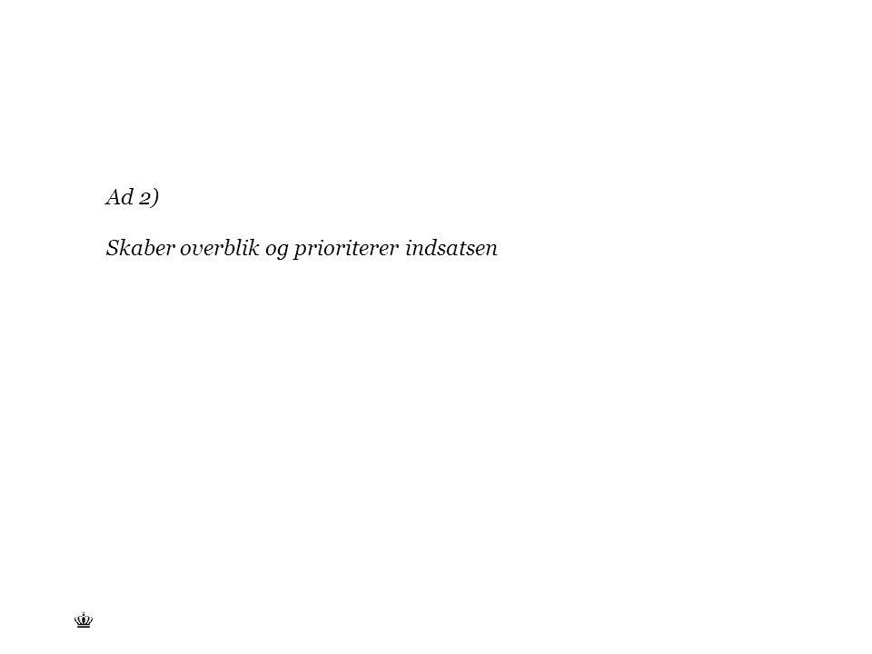 Tekst starter uden punktopstilling For at få punktopstilling på teksten (flere niveauer findes), brug >Forøg listeniveau- knappen i Topmenuen For at få venstrestillet tekst uden punktopstilling, brug >Formindsk listeniveau- knappen i Topmenuen Ad 2) Skaber overblik og prioriterer indsatsen