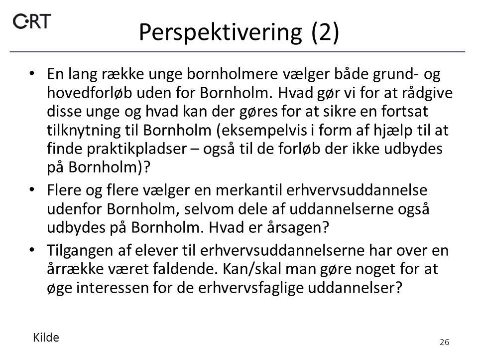 Perspektivering (2) En lang række unge bornholmere vælger både grund- og hovedforløb uden for Bornholm.