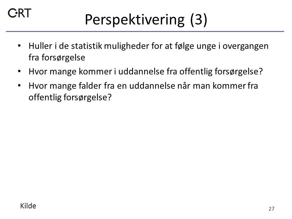 Perspektivering (3) Huller i de statistik muligheder for at følge unge i overgangen fra forsørgelse Hvor mange kommer i uddannelse fra offentlig forsørgelse.