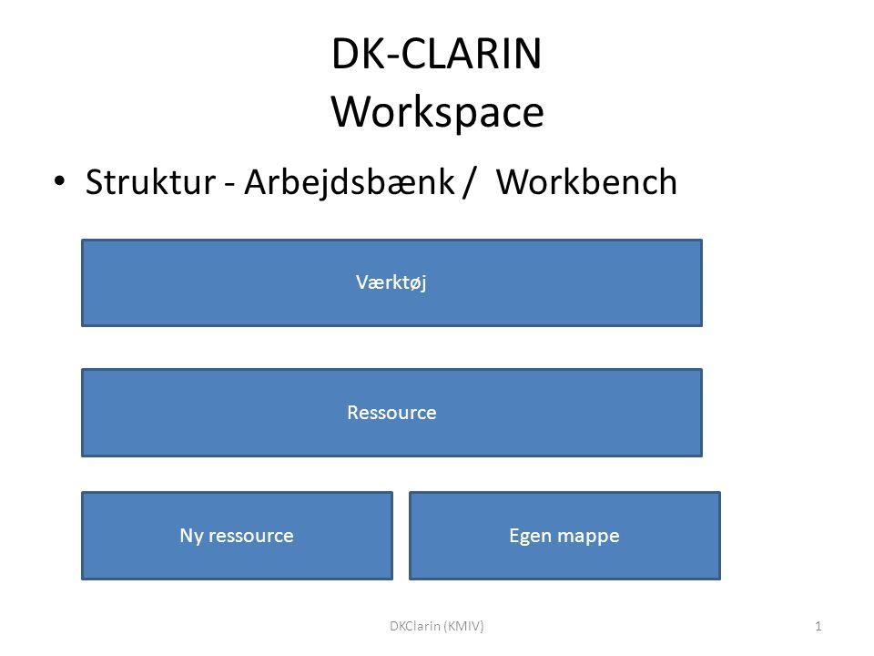 DK-CLARIN Workspace Struktur - Arbejdsbænk / Workbench Værktøj Ressource Ny ressourceEgen mappe 1DKClarin (KMIV)