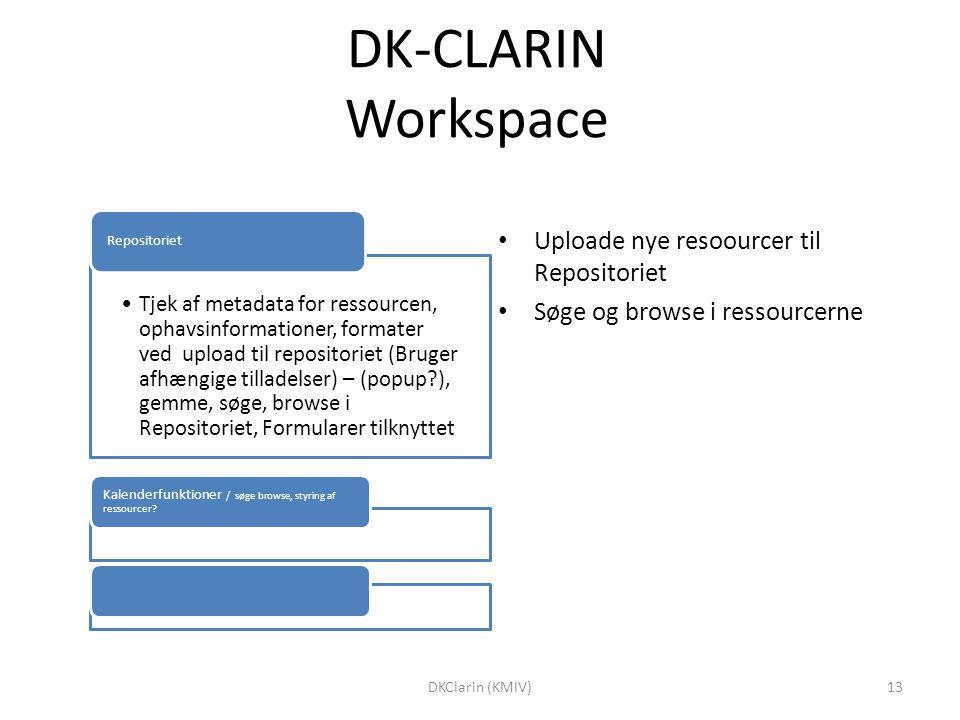 DK-CLARIN Workspace Tjek af metadata for ressourcen, ophavsinformationer, formater ved upload til repositoriet (Bruger afhængige tilladelser) – (popup ), gemme, søge, browse i Repositoriet, Formularer tilknyttet Repositoriet Kalenderfunktioner / søge browse, styring af ressourcer.