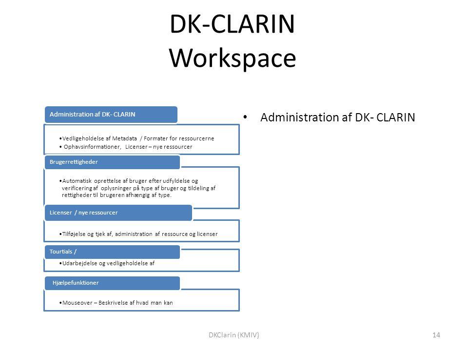 DK-CLARIN Workspace Vedligeholdelse af Metadata / Formater for ressourcerne Ophavsinformationer, Licenser – nye ressourcer Administration af DK- CLARIN Automatisk oprettelse af bruger efter udfyldelse og verificering af oplysninger på type af bruger og tildeling af rettigheder til brugeren afhængig af type.