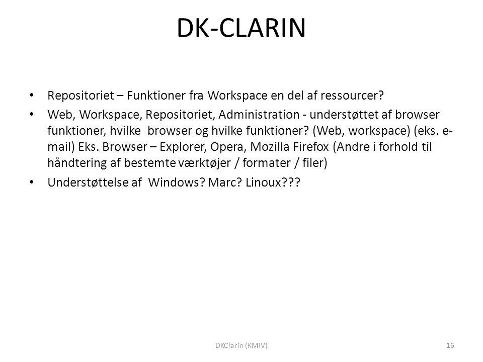 DK-CLARIN Repositoriet – Funktioner fra Workspace en del af ressourcer.