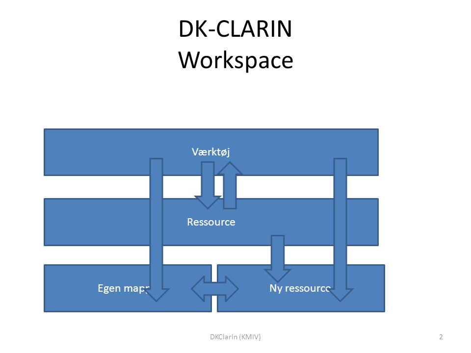 DK-CLARIN Workspace Værktøj Ressource Egen mappeNy ressource 2DKClarin (KMIV)