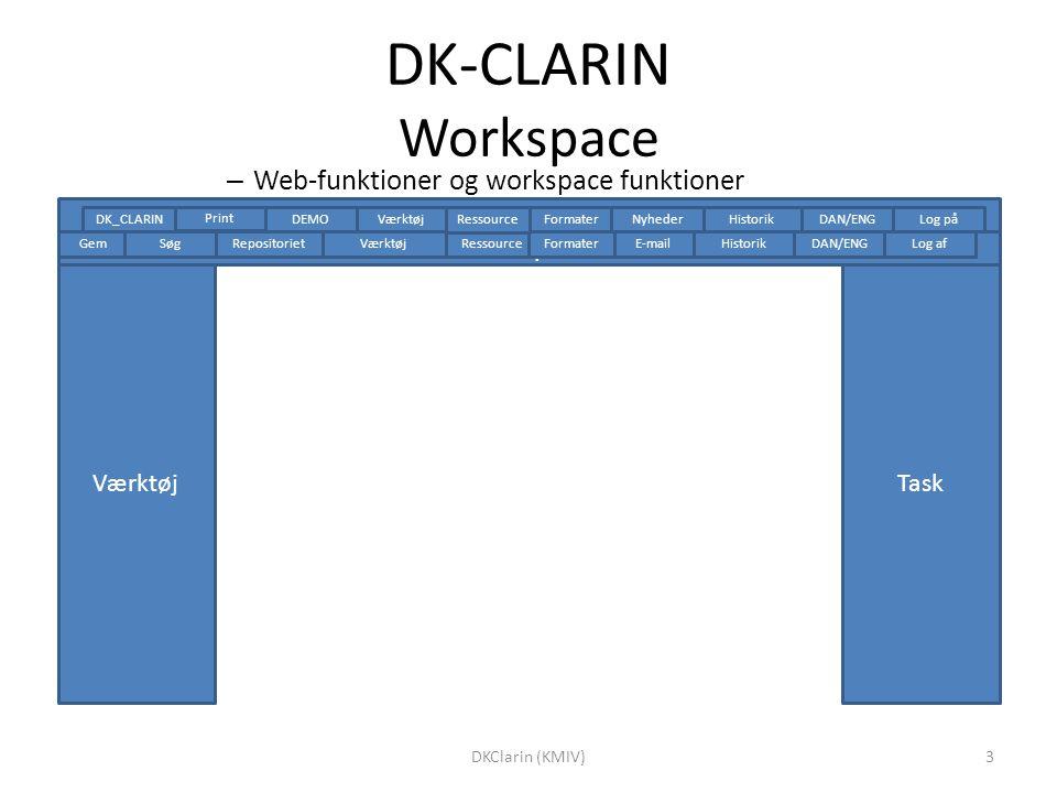 DK-CLARIN Workspace Værktøj workspace Task – Web-funktioner og workspace funktioner Historik Repositoriet Gem DAN/ENGLog afSøgVærktøjE-mailRessource Formater Log påDAN/ENG Historik VærktøjDEMO Formater Ressource Nyheder Print DK_CLARIN 3DKClarin (KMIV)