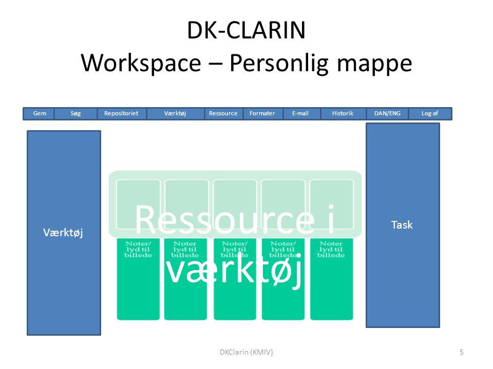 DK-CLARIN Workspace – Personlig mappe Ressource i værktøj Værktøj Task HistorikRepositoriet Gem DAN/ENGLog afSøgVærktøjE-mailRessource Formater 5DKClarin (KMIV)