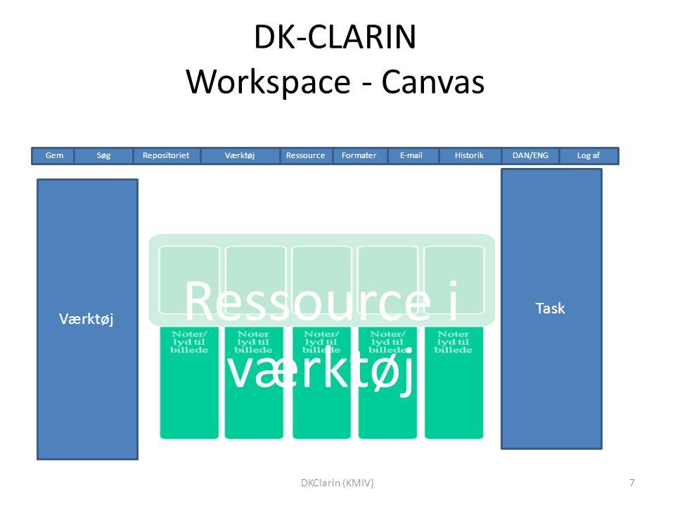 DK-CLARIN Workspace - Canvas Ressource i værktøj Værktøj Task HistorikRepositoriet Gem DAN/ENGLog afSøgVærktøjE-mailRessource Formater 7DKClarin (KMIV)