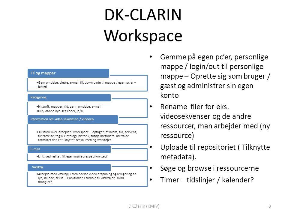 DK-CLARIN Workspace Gem omdøbe, slette, e-mail fil, downloade til mappe / egen pc'er – ja/nej Fil og mapper Historik, mapper, tid, gem, omdøbe, e-mail Klip, danne nye sessioner, ja/n, Redigering Historik over arbejdet i workspace – optaget, af hvem, tid, sekvens, filstørrelse, tags.