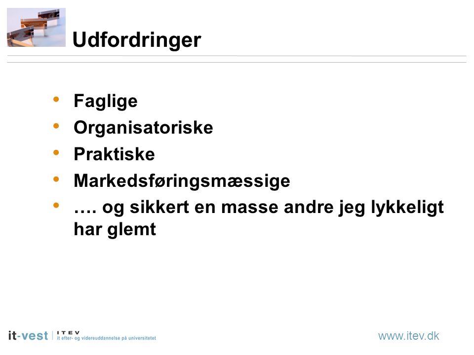 www.itev.dk Udfordringer Faglige Organisatoriske Praktiske Markedsføringsmæssige ….