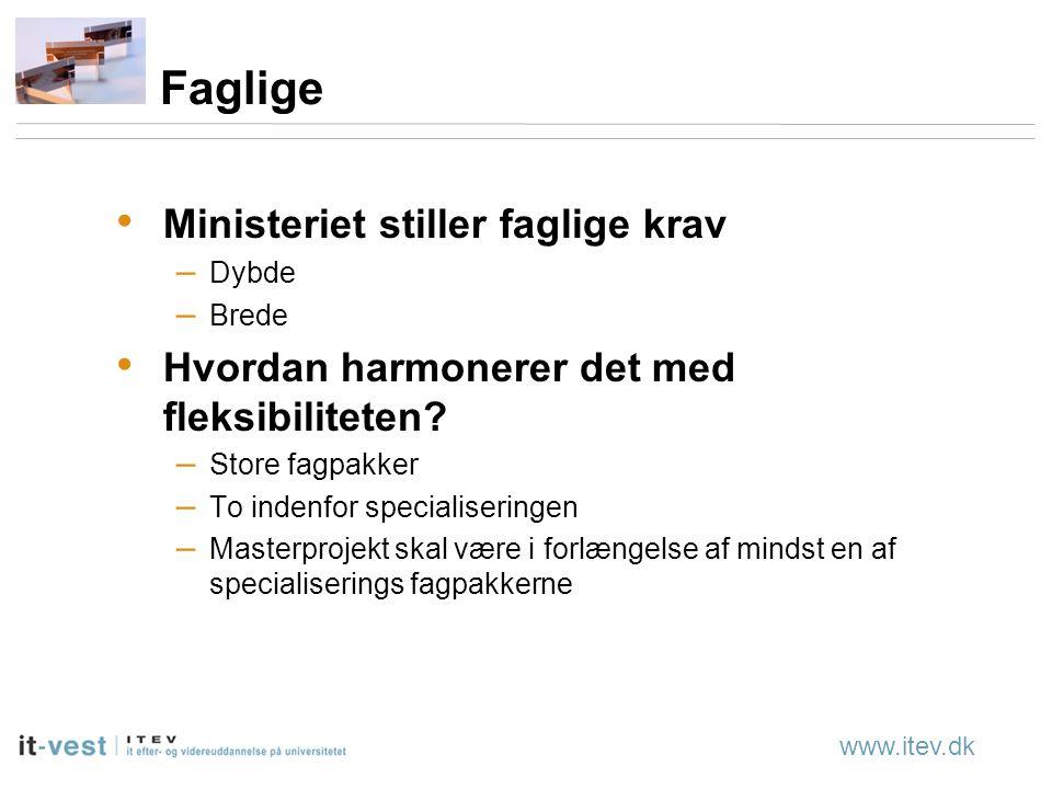 www.itev.dk Faglige Ministeriet stiller faglige krav – Dybde – Brede Hvordan harmonerer det med fleksibiliteten.