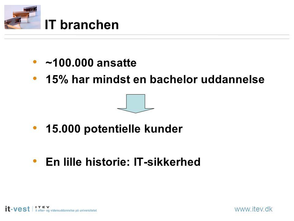 www.itev.dk IT branchen ~100.000 ansatte 15% har mindst en bachelor uddannelse 15.000 potentielle kunder En lille historie: IT-sikkerhed