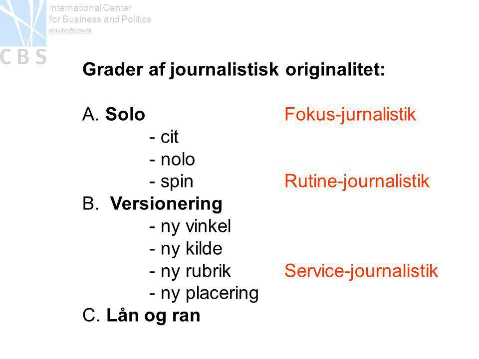 International Center for Business and Politics abl.cbp@cbs.dk Grader af journalistisk originalitet: A.