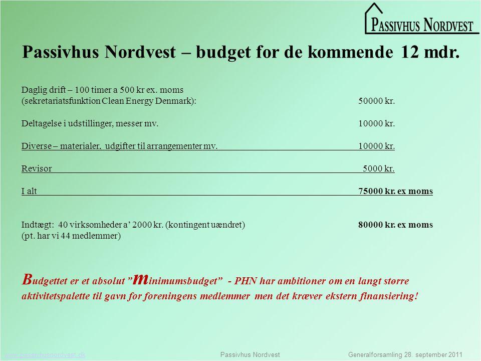 www.passivhusnordvest.dkwww.passivhusnordvest.dk Passivhus Nordvest Generalforsamling 28.