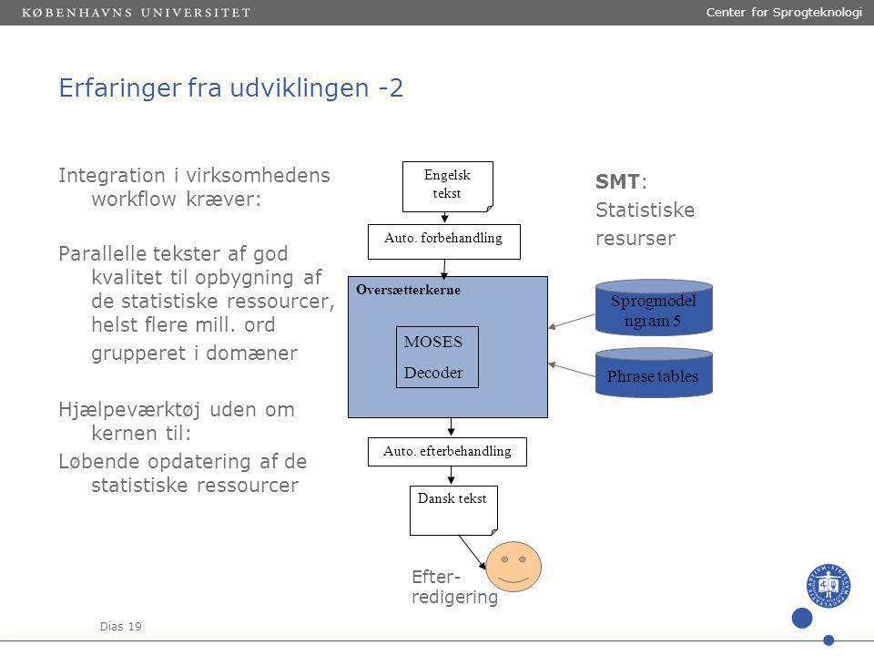 Dias 19 Center for Sprogteknologi SMT: Statistiske resurser Erfaringer fra udviklingen -2 Auto.