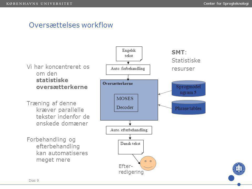 Dias 9 Center for Sprogteknologi SMT: Statistiske resurser Oversættelses workflow Auto.