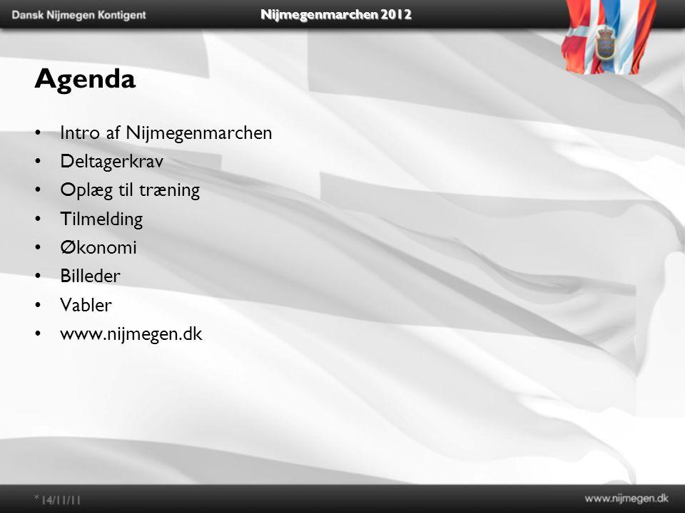 Agenda Intro af Nijmegenmarchen Deltagerkrav Oplæg til træning Tilmelding Økonomi Billeder Vabler www.nijmegen.dk *