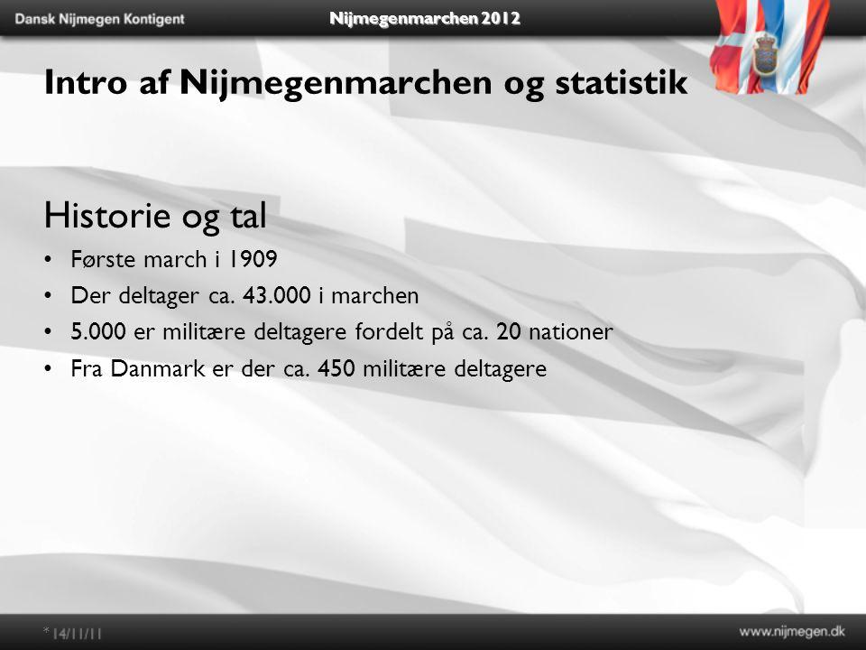 Nijmegenmarchen 2012 Intro af Nijmegenmarchen og statistik Historie og tal Første march i 1909 Der deltager ca.