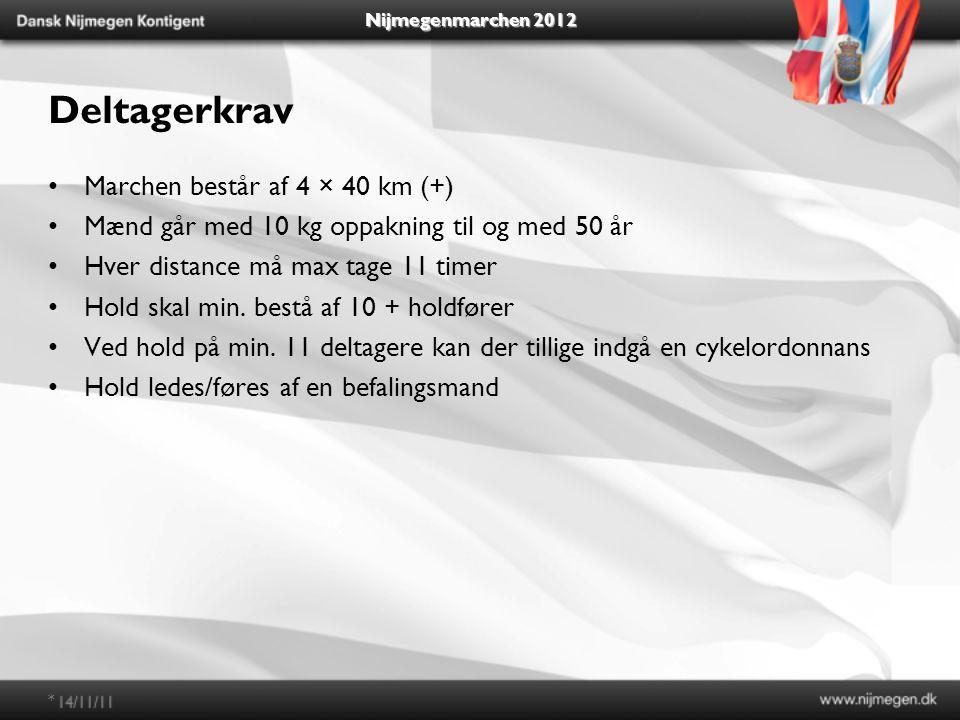 Nijmegenmarchen 2012 Deltagerkrav Marchen består af 4 × 40 km (+) Mænd går med 10 kg oppakning til og med 50 år Hver distance må max tage 11 timer Hold skal min.