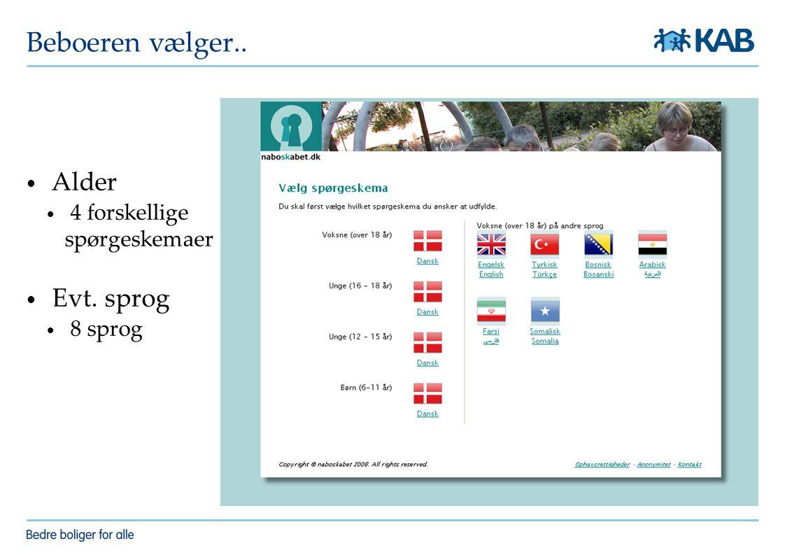 Beboeren vælger.. Alder 4 forskellige spørgeskemaer Evt. sprog 8 sprog