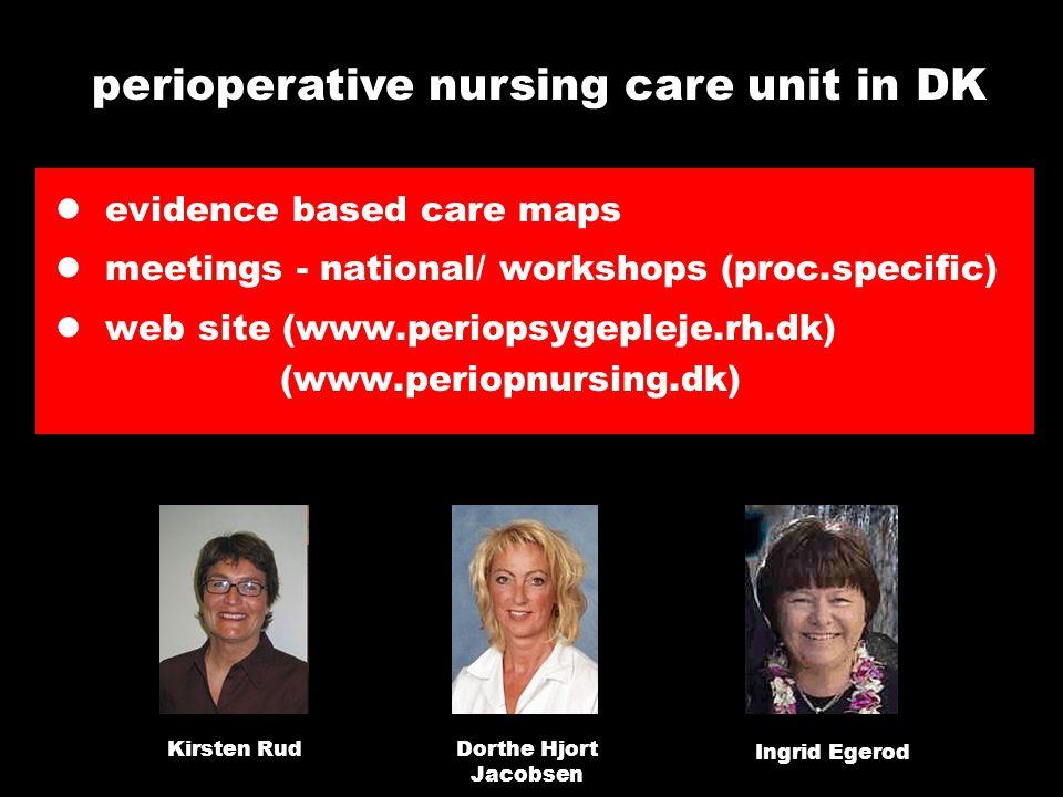 evidence based care maps meetings - national/ workshops (proc.specific) web site (www.periopsygepleje.rh.dk) (www.periopnursing.dk) perioperative nursing care unit in DK Kirsten RudDorthe Hjort Jacobsen Ingrid Egerod
