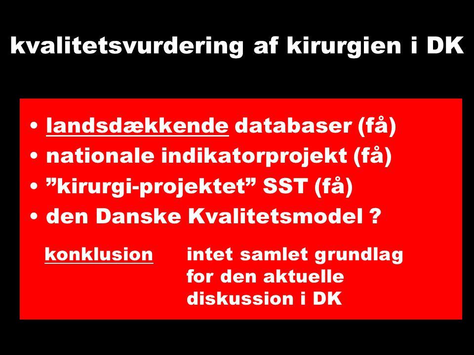 kvalitetsvurdering af kirurgien i DK landsdækkende databaser (få) nationale indikatorprojekt (få) kirurgi-projektet SST (få) den Danske Kvalitetsmodel .